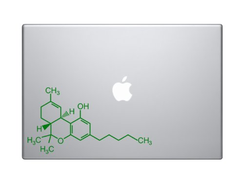 "THC Tetrahydrocannabinol Marijuana Molecule Molecular Model - 6"" Green Vinyl Decal Sticker Car Macbook Laptop Skin"