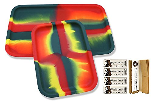 "Bundle Set of of 2 (12""+ 8"") Non-Stick Silicone Cigarette Herb Rolling Trays & 5 Packs Rasta Royal® Ultra Thin Tobacco Hemp Rolling Paper with Tips"