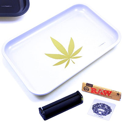 "Full Size Rolling Tray Bundle - 12"" x 8"" Tray + 110mm Rolling Machine + King Size Raw Rolling Papers - Lionhead"