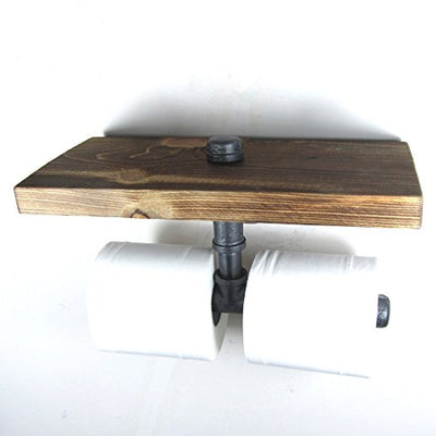 Vintage Decoration-Industrial Style Iron Pipe Double Toilet Paper Holder Roller With Wood Shelf