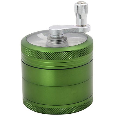 DCOU Hand Cranked Premium Grinder Unbreakable Aluminum Grinder for Herb Weed and Spice 4 Parts 2.2 Inch