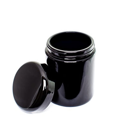 ultravioLeaf 250 ml (8.5 fl oz) Tall Black Ultraviolet Glass Herb Storage Jar - Airtight Stash Container