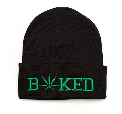 Beanie for Men and Women Cannabis Leaf Baked Embroidered Hat One Size Black