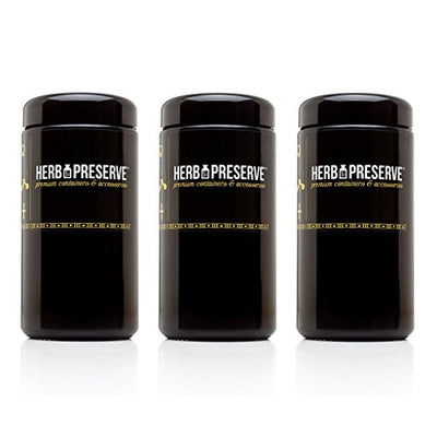 Herb Preserve 1 Oz (500 Ml) Capacity Tall Large Size Screwtop Wide Mouth Jar Black Ultraviolet Refillable Glass Stash