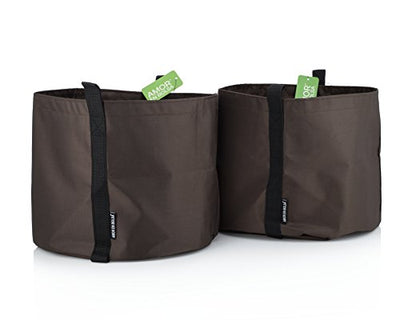 5-Gallon Set Of 2 Stylish Decorative Grow Bags with Handles - In Color Brown - Ideal for Indoor & Outdoor Use - Perfect to Grow Plants, Flowers, Herbs - Lightweight, Washable, Unbreakable & Storable