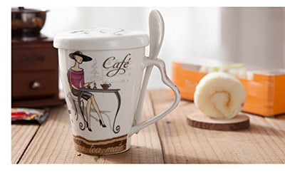 Mecai Retro style hand-painted DIY Creative ceramic cups milk cup coffee mug with cover household personality cups with a spoon