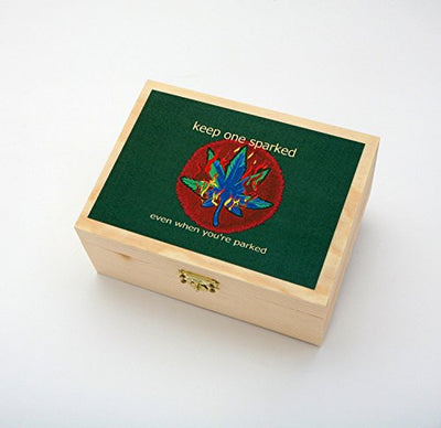 Green Leaf Wooden Tobacco Box Stash Box! 6 Pc. Raw Rolling Kit Includes Raw Rolling Papers, Raw Filter Tips, Raw Hemp Wick, Airtight Glass Jar and 4 Pc. Metal Grinder