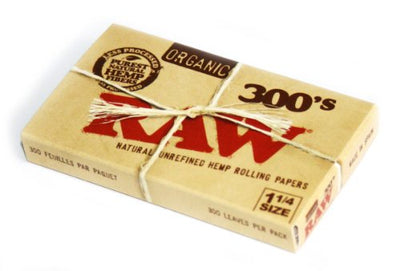 Raw Unrefined and Organic Rolling Paper, 1 1/4 (76 x 44mm) - 300 Paper