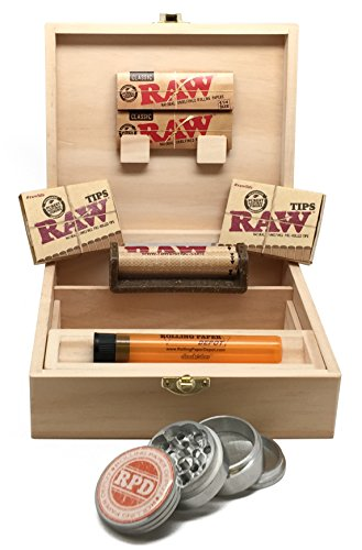 Rolling Supreme Rolling Box, RAW Natural Rolling Papers, RAW Prerolled Tips, RAW Roller, Rolling Paper Depot 42mm Grinder and Doobtube