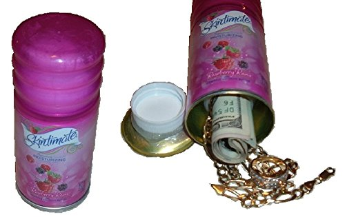 Ladys Pink Skintimate Shaving Gel CAN SAFE stash diversion hide cash jewelry box METAL BANK