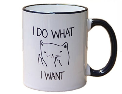 novelty coffee mug-I do what I want, cat face - 11 OZ ceramic mug - Best funny mug and inspirational gift -by Mecai
