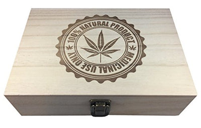 Medical Marijuana Natural Wood Hinged Cigar Stash Box
