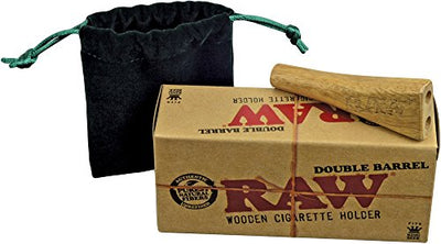 "Raw® Double Barrel Wooden Cigarette Holder 3.15"" with Felt Carry Bag"
