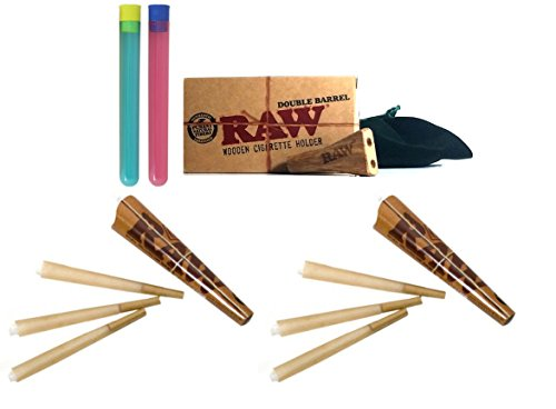 Bundle-5 Items - RAW Double Barrel Wooden Cigarette Holder Bundle - King Size