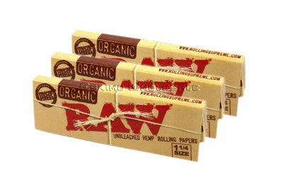 Raw Unrefined Organic 1.25 1 1/4 Size Cigarette Rolling Papers, 3 Packs