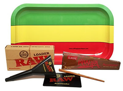Bundle - 3 Items - Wiz Khalifa Peacemaker Cone with RAW Cone Loader and Rolling Paper Depot Rolling Tray