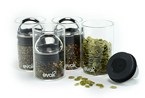 SET OF 4 EVAK MINI- Best PREMIUM Airtight Storage Container for Coffee Beans, Tea and Dry Goods - EVAK - Innovation that Works by Prepara, Glass and Stainless, Compact Handle, Mini