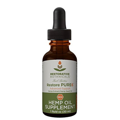 Restore PURE6 Hemp Oil Extract 1800 mg Advanced Formula 1 ounce (30ml) Restorative Botanicals