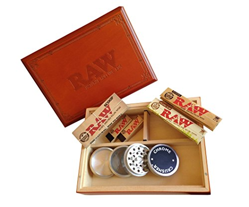 Large Raw ® Special Wood Rolling Box (7 Items Bundle) 4pc Grinder, Organic King Paper, Tips, Scoop Card Tray
