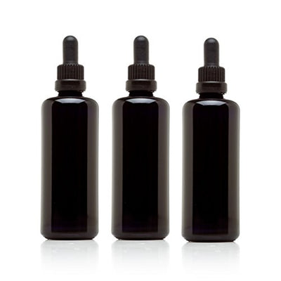 Infinity Jars 100 Ml (3.4 fl oz) Black Ultraviolet Glass Bottle w/ Glass Eye Dropper