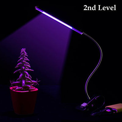 Aokey 5W Adjustable 3 Level Dimmable Clip Plant Lamp with 360°Flexible Goose-Neck