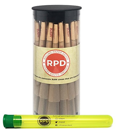 Bundle - 2 Items - 50 RAW Natural King Size Cones with Rolling Paper Depot XL Doob Tube