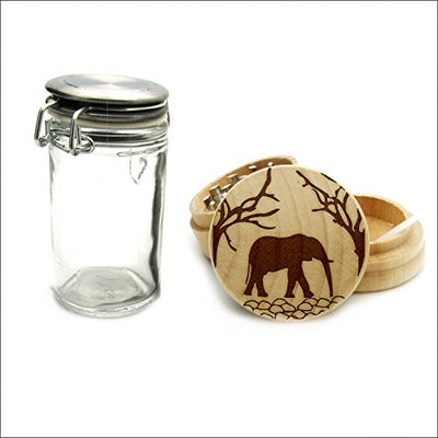 Tree Elephant Design Wood Laser Engraved Grinder, Custom Grinder with a FREE Wood Glass Jar, Smoking accessories