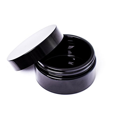 ultravioLeaf 200 ml (6.8 fl oz) Premium Cosmetic Style Black Ultraviolet Glass Wide Mouth Airtight Stash Jar Container for Herbs, Spices, DIY Lotions, Creams Discreet Storage Container