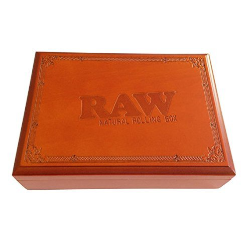 "Raw Rolling Wood Box Magnetically Sealed 9""x 6 1/2"" x 2 1/2"" Inches"