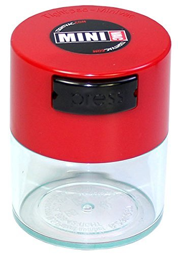 "Tightvac Minivac 1-Ounce Vacuum Sealed Dry Goods Storage Container, Clear Body/Red Cap by ""Tightpac America, Inc."""