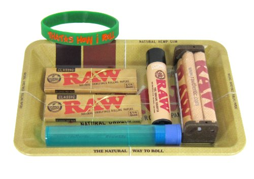 Bundle - 7 Items - RAW Rolling Paper Mini Rolling Tray Sampler