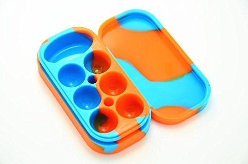 Silicone Container Wax Dab Concentrate Multi Compartments Non Stick Large Lego Slick Jar Oil Cream Dab 6 + 1 7 in 1 Solid & Multi Colors , Sky Blue Orange