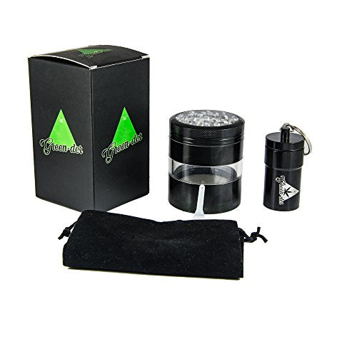 Perfect Herb Grinder Set for Weed, Spice and Tobacco including: Large, 4 pieces, 2.5 inch diameter, Top Quality Aluminum Grinder with Pollen Catcher and Airtight Container with Lid, Ideal for Storage