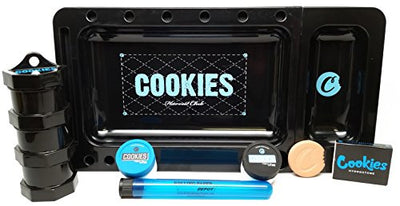 Bundle 6 Items - Cookies Rolling Tray Black, Mini Jars, Hydrostone, Silicone Containers and Doob Tube