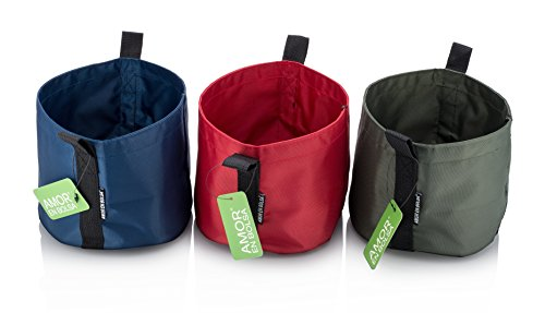 1-Gallon Stylish Decorative Grow Bags - Set Of 3 In Vibrant Green, Red And Blue - Ideal For Indoor & Outdoor Fresh Herbs & Small Flower Growing - Lightweight, Washable & Unbreakable - The Perfect Gift