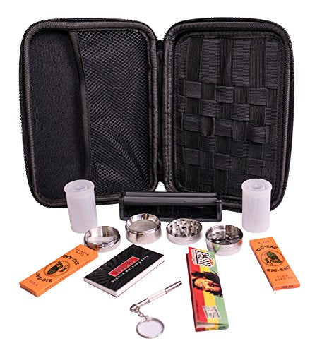 Perfect Pregame Smoker's Kit - 10 Piece Carrying Case and Accessories - Includes Grinder, Rolling Machine, Airtight Container, Rolling Papers and More - Great Gift