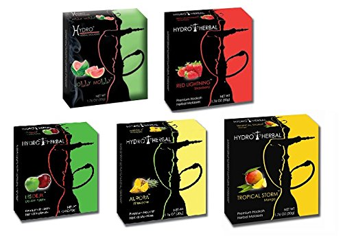 Hydro Herbal 250g, 5 Mix: Apple, Strawberry, Mango, Watermelon & Pineapple, Hookah Shisha Tobacco Free Molasses, Value Pack!