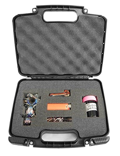 "Lockable DISCREET n SECURE 11"" Travel Hard Case - Fits Hookah Tobacco Pipes with Customizable Internal Foam Padding - Great for Storing Handheld Pipe / Spoon Pipe / Taster Pipe / Hammer Bubbler / Sherlock Pipe / Grinders, Canisters and More"