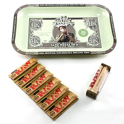 Wiz Khalifa RAW Rolling Tray + 79mm RAW Roller + RAW 1 1/4 Size Rolling Papers Bundle / Kit - (Official Limited Edition Rolling Tray)