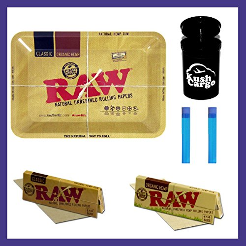 BUNDLE 6 ITEMS: Raw Metal Rolling Tray Mini + Raw Rolling Papers + 2 Doob Tubes + KC Lim Ed Jar