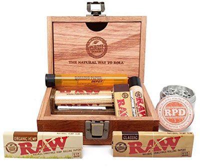 Bundle - 8 Items - Raw Wooden Box, Rolling Papers, Roller, Tips and RPD Grinder and Doobtube