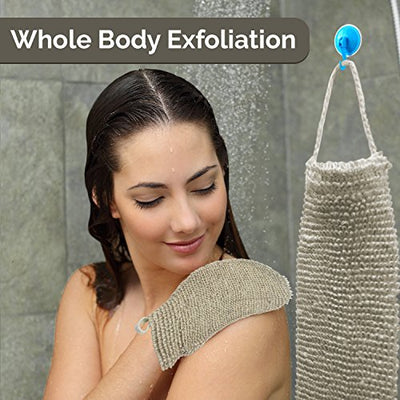 Best All Natural Back Scrubber and Bath Mitt Set, BONUS HANGING HOOKS, Durable Hemp Exfoliating Body Scrubber - Exfoliate Your Skin From Head to Toe With Ease in the Shower or Tub, Machine Washable