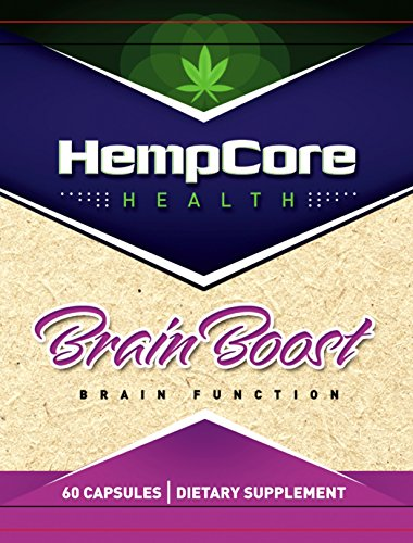 HempCore Brain Boost Supplement with Hemp, Ginkgo Biloba and Caffeine, Helps Optimize Cognitive Function, Enhance Memory and Focus and maintain Energy Levels, 60 Capsules, non-GMO, Organic