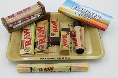Bundle 9 Items Authentic Raw Paper 1 1/4 Size Combo Tray+papers+tips+rolling Machine+lighter+mat+scoop Card