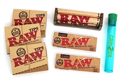 RAW KIT 2 Packs Rolling Paper 4 Packs Pre rolled Tips 1 Hemp Cigarette Rolling Machine and 1 Tube.