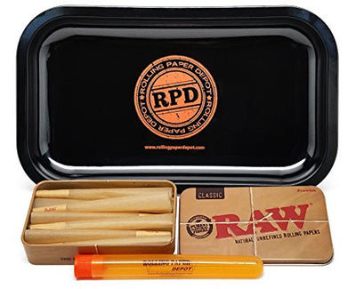 Bundle - 4 Items - 15 RAW King Size Cones, RAW Tin Carring Case, Rolling Paper Depot Rolling Tray and Doob Tube