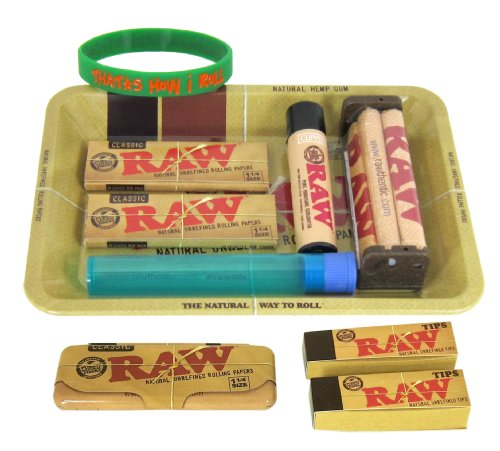 Bundle - 10 Items - RAW Rolling Paper Mini Rolling Tray Sampler Plus+