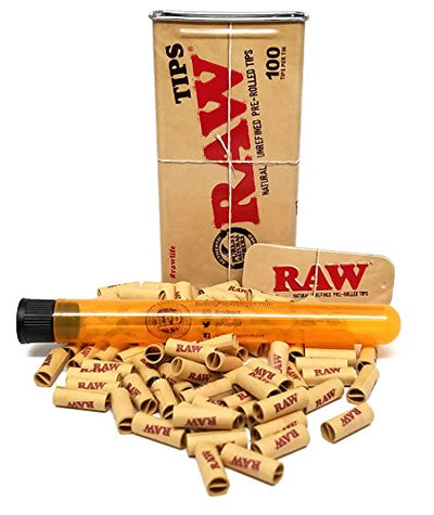 100 Raw PRE-ROLLED Tips with Raw Storage Tin and Rolling Paper Depot XL Doob Tube