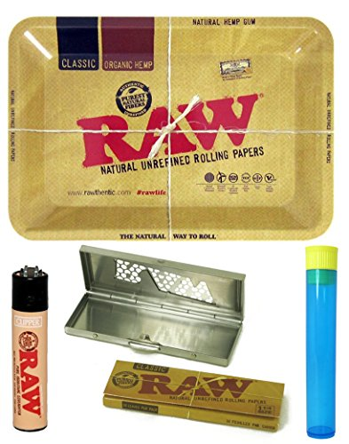 Bundle - 5 Items - Raw Metal Rolling Tray Mini with Raw Rolling Papers, Lighter, Raw Shredder Case and Doob Tube