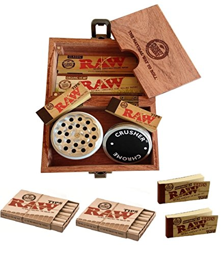 Raw Special Wood Rolling Box (10 Items Bundle) 4pc Grinder, Organic King Paper, Pre Rolled Hemp Tips...